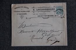 Timbre Sur Lettre Publicitaire - ST ETIENNE, E.LACHASSAGNE : Vêtements En Peau Et Imperméables. - Textile & Vestimentaire