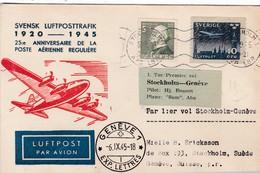 RARE /PREMIER VOL / STOCKHOLM GENEVE 1945 - Poste Aérienne