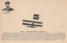 ***  AVIATION  ***  Le Biplan Metrot En Plein Vol - Voisin TTB Timbrée - Cartes Postales