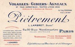 PARIS  -  PIETREMENT  8 Et10 Rue Montmartre  Halles Centrales - Visiting Cards