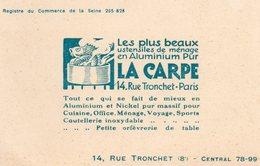 PARIS  - LA CARPE  14 Rue Tronchet  - Les Plus Beaux Ustensiles De Ménage En Aluminium Pur - Visiting Cards
