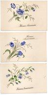 3 CPA  HEUREUX ANNIVERSAIRE       FLEURS - Fleurs