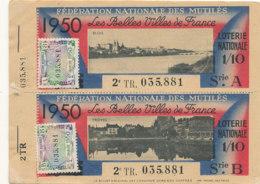 BL 86 / BILLETS  LOTERIE NATIONALE  FEDERATION DES MUTILES LES BELLES VILLES DE FRANCE  BLOIS -TROYES  1950 - Billets De Loterie