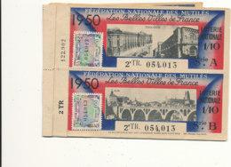 BL 87 / BILLETS  LOTERIE NATIONALE  FEDERATION DES MUTILES LES BELLES VILLES DE FRANCE   TOULOUSE -ALBI   1950 - Billets De Loterie