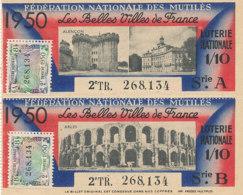 BL 88 / BILLETS  LOTERIE NATIONALE  FEDERATION DES MUTILES LES BELLES VILLES DE FRANCE    ALENCON -ARLES   1950 - Billets De Loterie