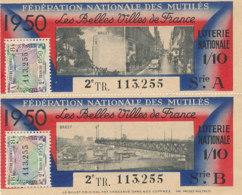 BL 89 / BILLETS  LOTERIE NATIONALE  FEDERATION DES MUTILES LES BELLES VILLES DE FRANCE    BREST  1950 - Billets De Loterie
