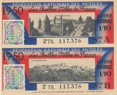 BL 90 / BILLETS  LOTERIE NATIONALE  FEDERATION DES MUTILES LES BELLES VILLES DE FRANCE    CARCASONNE  1950 - Billets De Loterie