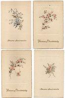 4 CPA  HEUREUX ANNIVERSAIRE       FLEURS - Fleurs