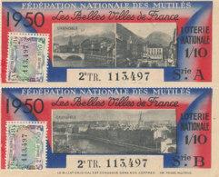 BL 91 / BILLETS  LOTERIE NATIONALE  FEDERATION DES MUTILES LES BELLES VILLES DE FRANCE     GRENOBLE  1950 - Billets De Loterie