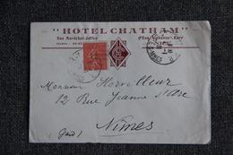 Timbres Sur Lettre Publicitaire - NICE : Hotel CHATHAM - Sports & Tourisme