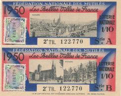BL 93 / BILLETS  LOTERIE NATIONALE  FEDERATION DES MUTILES LES BELLES VILLES DE FRANCE    ROUEN  1950 - Billets De Loterie