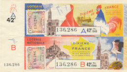 BL 94 / BILLETS  LOTERIE NATIONALE DIXIEME DE FRANCE AILES BRISEES 42 EME TRANCHE  1949 - Billets De Loterie