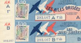BL 95 / BILLETS  LOTERIE NATIONALE LES AILES BRISEES 1 ERE TRANCHE  1950 - Billets De Loterie