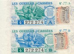 BL 96 / BILLETS  LOTERIE NATIONALE LES  GUEULES CASSEES 4 EME TRANCHE  1950 - Billets De Loterie