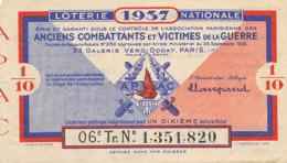 BL 101 / BILLET  LOTERIE NATIONALE ANCIENS COMBATTANTS ET VICTIMES DE LA GUERRE    1937 - Billets De Loterie