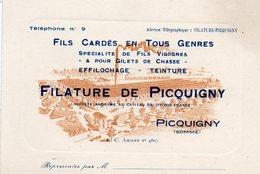 Filature De PICQUIGNY (Somme)  -  Fils Cardés En Tous Genres - Visiting Cards