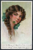 """CPA Signierte Color  Künstler AK German Empires Arthur Schürer 1917""""Klee,Jeune Femme,Junge Frau Mit Klee,4965""""1 Ak Used - Illustrateurs & Photographes"""