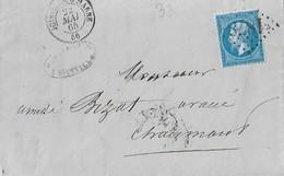 NAPOLEON  22  .  LOSANGE  GROS  CHIFFRES  1878  -  JOINVILLE  SUR  MARNE   -  1865  . - 1853-1860 Napoléon III
