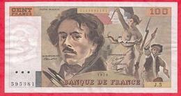 """100 Francs """"Delacroix"""" 1978 ----F/TTB+---Série J.5 - 1962-1997 ''Francs''"""