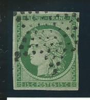 FRANCE: Obl., N° YT 2b, Vert Foncé, Trés Léger Pelurage, Signé JF Brun, Sinon TB - 1849-1850 Cérès