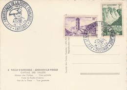 Andorre Cachet XXV è Anniversaire De La Poste Française 16/6/1956 Sur Carte Postale Record D' Andorra Multivues - Lettres & Documents