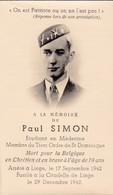 Souvenir P Simon étudiant Université Fusillé Résistant AS Liège - Dépliants Touristiques