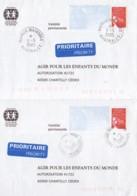 FRANCE : Lot De 2 Prêt à Poster Réponse -Marquises - Australes - Agir Pour Les Enfants Du Monde - Prêts-à-poster: Réponse /Luquet