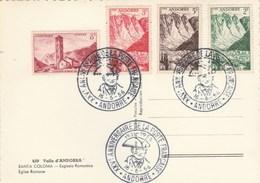 Andorre Cachet XXV è Anniversaire De La Poste Française 16/6/1956 Sur Carte Postale Santa Coloma - Lettres & Documents