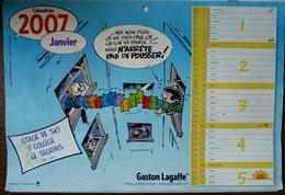 RARE CALENDRIER PUBLICITAIRE GASTON LAGAFFE 2007 STAGE DE SKI COLLEGE LE SEGRAIS - FRANQUIN - Agendas & Calendriers