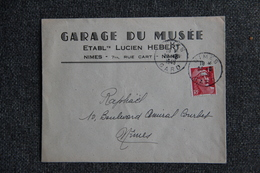 Timbres Sur Lettre Commerciale - NIMES - Garage Du Musée, Lucien HEBERT. - Automobile