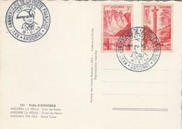 Andorre  Cachet XXV è Anniversaire De La Poste Française 16/6/1956 Sur Carte Postale Croix De Pierre - Lettres & Documents