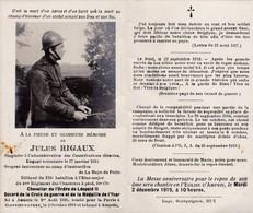 Souvenir JR Soldat Belge Chasseur Tué Au Combat Oostnieuwkerke 1918 Ampsin - Dépliants Touristiques