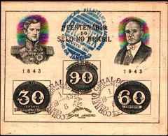 91692) Brasile - Foglietto Centenario Francobollo, 1943 - USATO - Blocs-feuillets