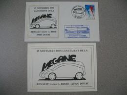 Carte + Enveloppe 1995  - Lancement De La Mégane - Renault Usine G. Besse    Cachet Douai - Marcophilie (Lettres)