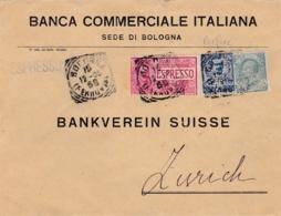 ITALIE  :  Victor Emmanuel Perforés BCI  Sur Lettre Par Express Pour La Suisse - 1900-44 Vittorio Emanuele III
