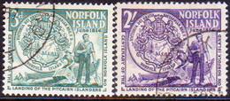 Norfolk Island 1956 SG #19-20 Compl.set Used Pitcairn Islanders Landing - Norfolk Island