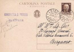 INTERO POSTALE  CENT. 30 - REGNO - VIAGGIATA DA LOVERE ( BERGAMO)  PER  BERGAMO - 1900-44 Victor Emmanuel III