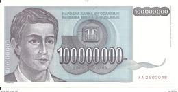 YOUGOSLAVIE 100 MILLION DINARA 1993 UNC P 124 - Yougoslavie