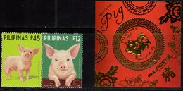 PHILIPPINES, 2019, MNH, YEAR OF THE PIG, CHINESE NEW YEAR, 2v+ GOLD FOIL S/SHEET - Chinese New Year