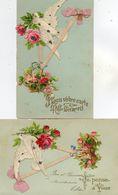- Belle FANTAISIE  - Ajoutis Collés, Fleurs, Colombe (LOT De 2 CPA)   -19088- - A Systèmes