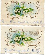 - Belle FANTAISIE  - Ajoutis Collés, Muguet Porte Bonheur (LOT De 2 CPA)   -19089- - A Systèmes