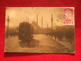 """TURQUIE - CONSTANTINOPLE - LE NOUVEAU PONT  - """" TRAMWAY EN BEAU PLAN + AFFRANCHISSEMENT , ARMEE D' ORIENT...É - Turkey"""