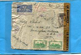 Marcophilie GUERRE 39-45-Lettre REC-cad ZAHLE-cad 1943 Censurée -pour USA - Syrie