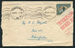 1941 South Africa Germiston Sta. Censor Label Cover - Bloemfontein - South Africa (...-1961)