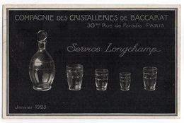 CPA PUB  BACCARAT  1924    CRISTALLERIES     SERVICE LONGCHAMP - Publicité