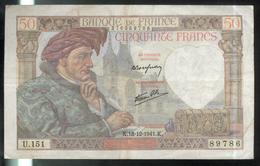 Billet 50 Francs France Jacques Coeur 18-12-1941.K. TB - 1871-1952 Antichi Franchi Circolanti Nel XX Secolo