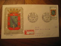 Madrid 1965 To Barcelona Escudo El Aaiun Coat Of Arms Arm Fdc Cover SAHARA Spain Colonies Area España Marruecos M - Sahara Español