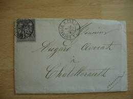 1878 La Rochelle A Paris  1878 Lettre Timbre Sage 15 C Gris Poste Ferroviaire - Postmark Collection (Covers)