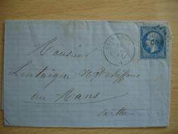 CN P  Obliteration Lettre Poste Ferroviaire Sur Lettre 1857 CAEN A PARIS LETTRE EMPIRE - 1849-1876: Période Classique
