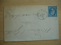 L P  Obliteration Lettre Poste Ferroviaire Sur Lettre 1865 LYON A PARIS B - Postmark Collection (Covers)